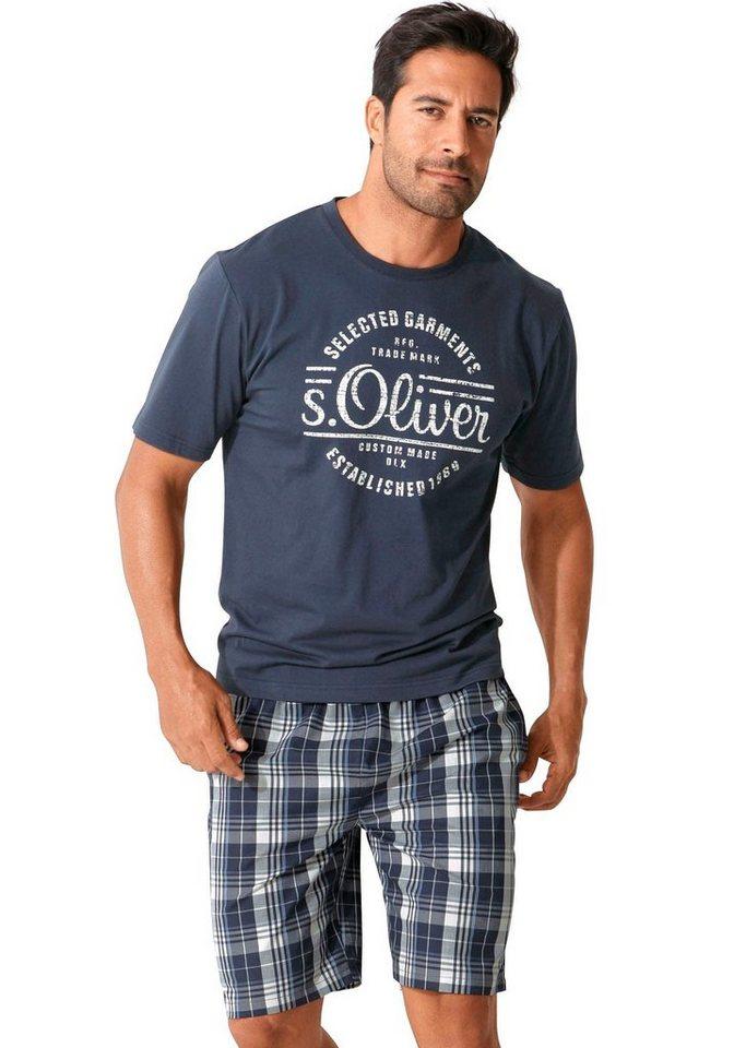 s.Oliver RED LABEL Bodywear kurzer Herren Pyjama mit Frontprint | Bekleidung > Wäsche > Nachtwäsche | Blau | s.Oliver RED LABEL Bodywear