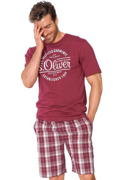 s.Oliver RED LABEL Bodywear kurzer Herren Pyjama mit Frontprint 1cc486e163