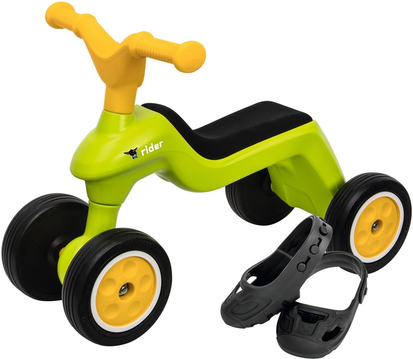 BIG Rutscherfahrzeug inkl. Schuhschoner, »BIG Rider + BIG Shoe Care, grün/gelb«