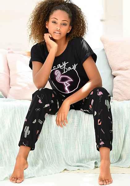 Dreams Flamingoprint Vivance Pyjama schwarz Schwarz Gemustert Mit WIED9YH2
