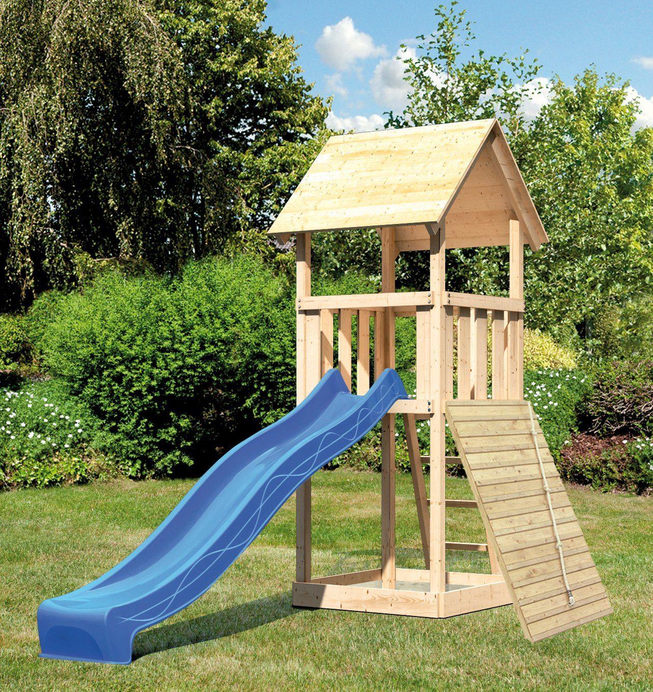 ABUKI Spielturm »Rosie 5«, BxT: 107x107 cm, mit Rutsche, Holzrampe