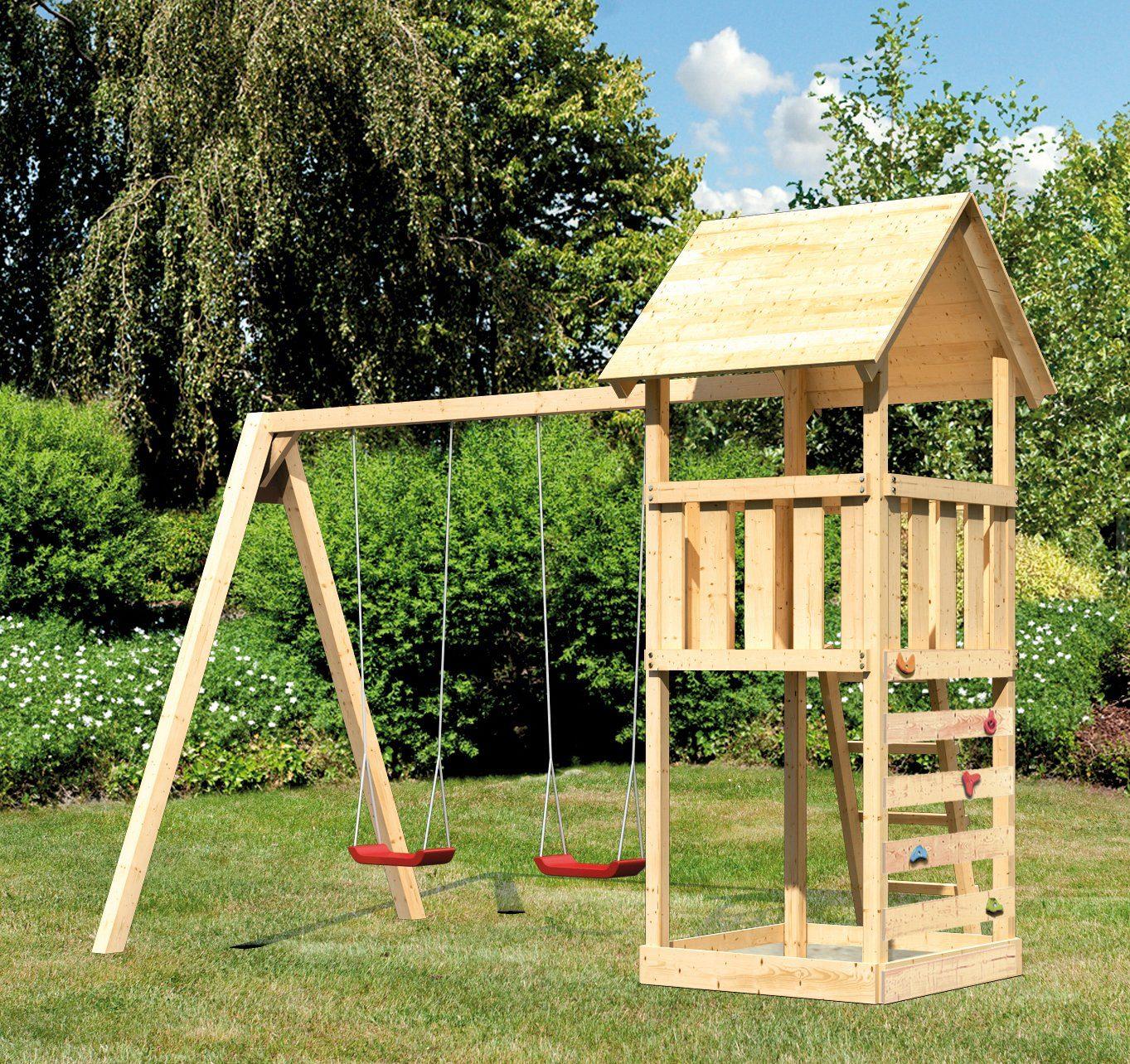 ABUKI Spielturm »Rosie 10«, BxT: 382x183 cm, mit Doppelschaukel, Kletterwand