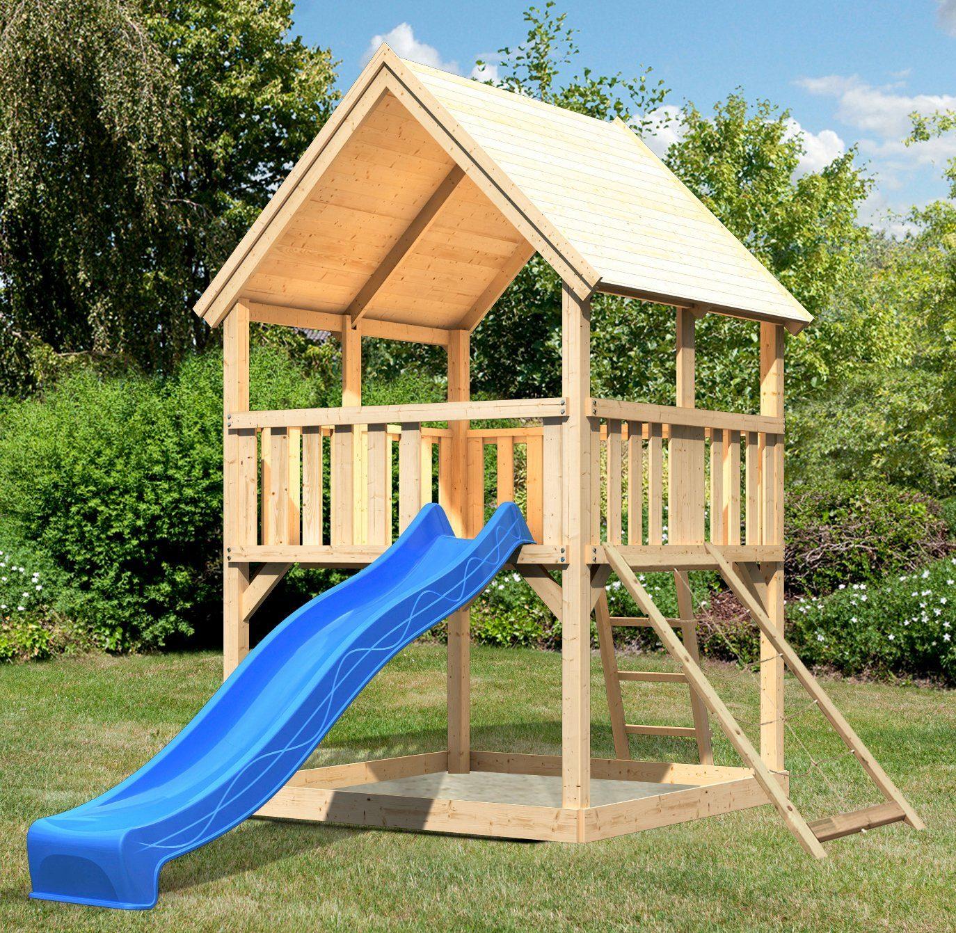 ABUKI Spielturm »Lenie 7«, BxT: 200x200 cm, mit Rutsche, Netzrampe