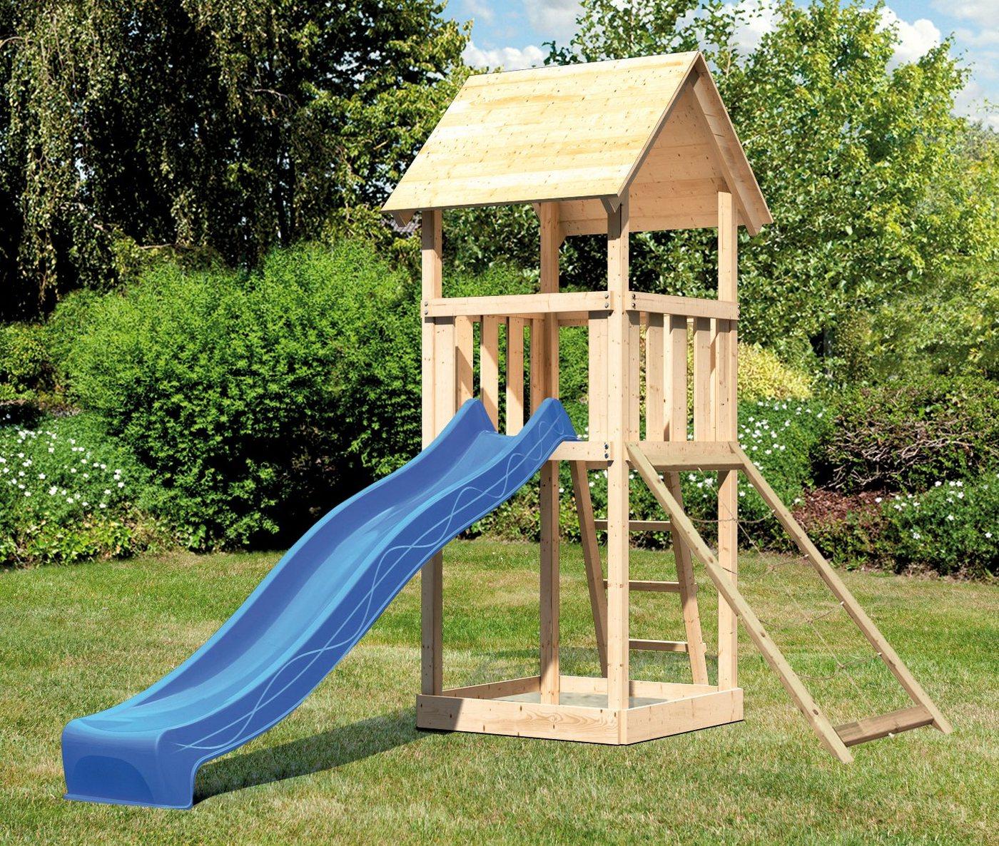 ABUKI Spielturm »Rosie 7«, BxT: 107x107 cm, mit Rutsche, Netzrampe