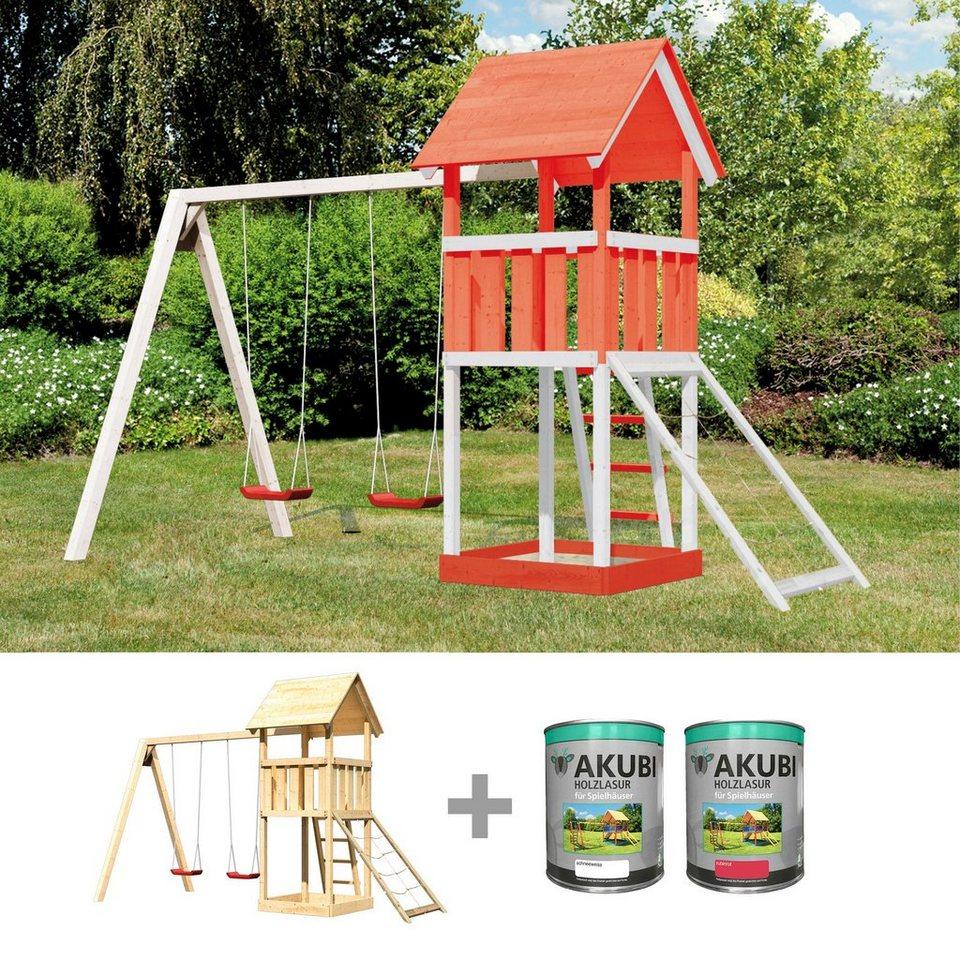 ABUKI Spielturm  Rosie 16 , BxT: 382x183 cm, mit Doppelschaukel, Netzrampe, inkl. Farbe online kaufen