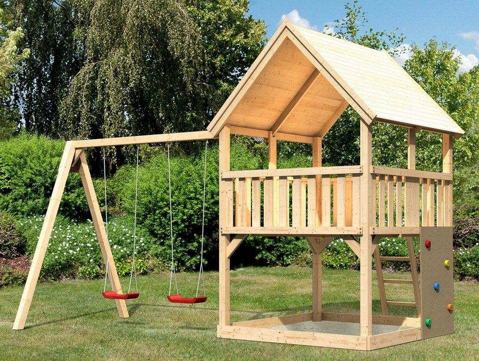 ABUKI Spielturm  Lenie 10 , BxT: 476x276 cm, mit Doppelschaukel, Kletterwand online kaufen