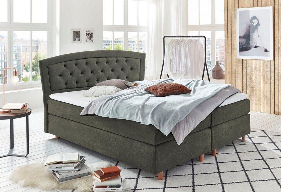 home affaire boxspringbett mit knopfheftung carina rand obere matratze und topper in. Black Bedroom Furniture Sets. Home Design Ideas