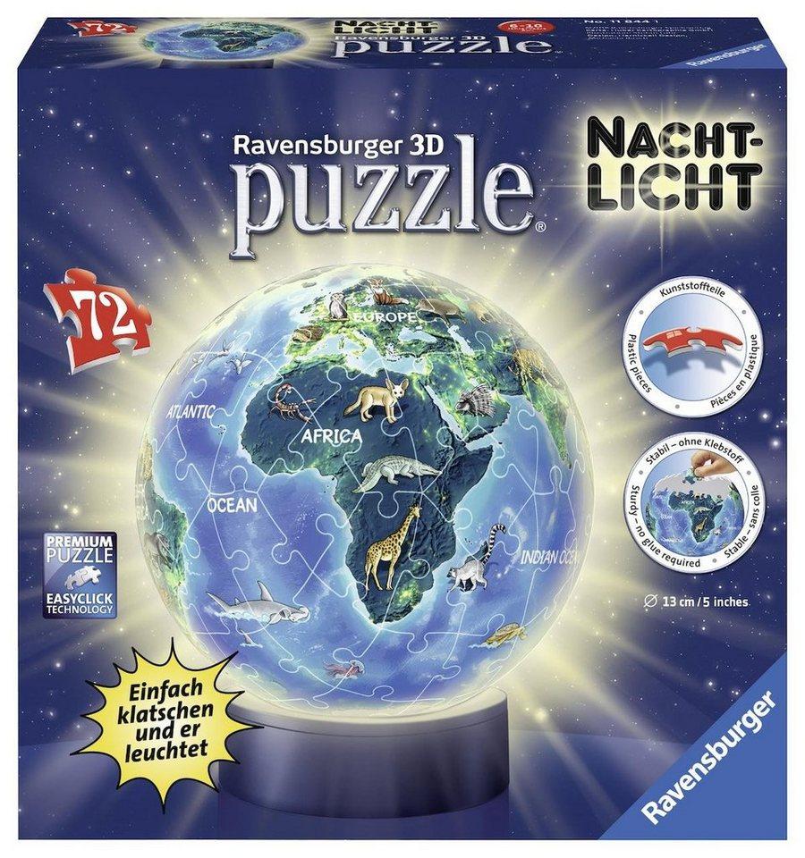 Ravensburger 3D Puzzleball, 72 Teile und Leuchtfunktion,  Nachtlicht Erde bei Nacht  online kaufen