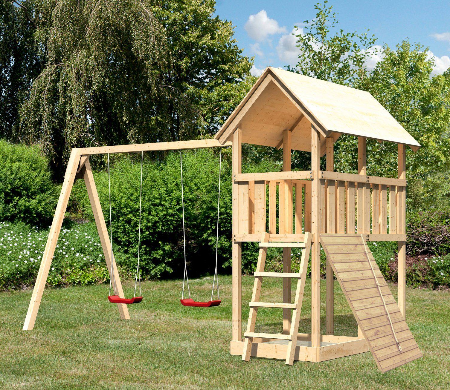 ABUKI Spielturm »Winnie 11«, BxT: 484x183 cm, mit Doppelschaukel und Holzrampe