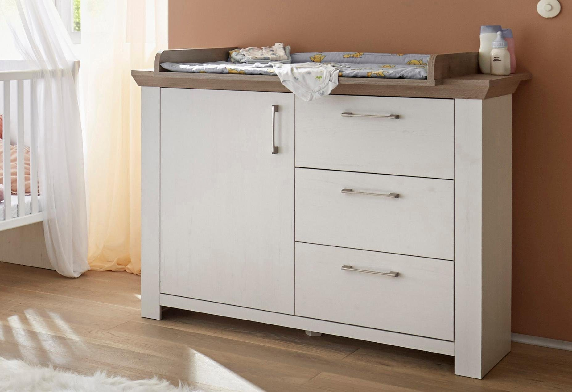 Wickelkommode passend zur Babymöbel Serie »Stralsund«, in Pinie NB weiß
