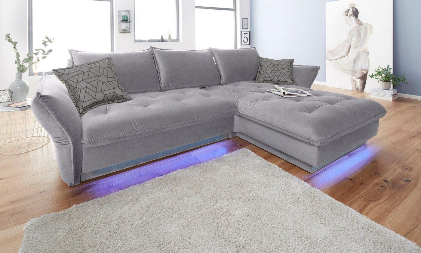 INOSIGN Ecksofa PALLADIO wahlweise mit Bettfunktion und Ambiente RGB-LED Beleuchtung