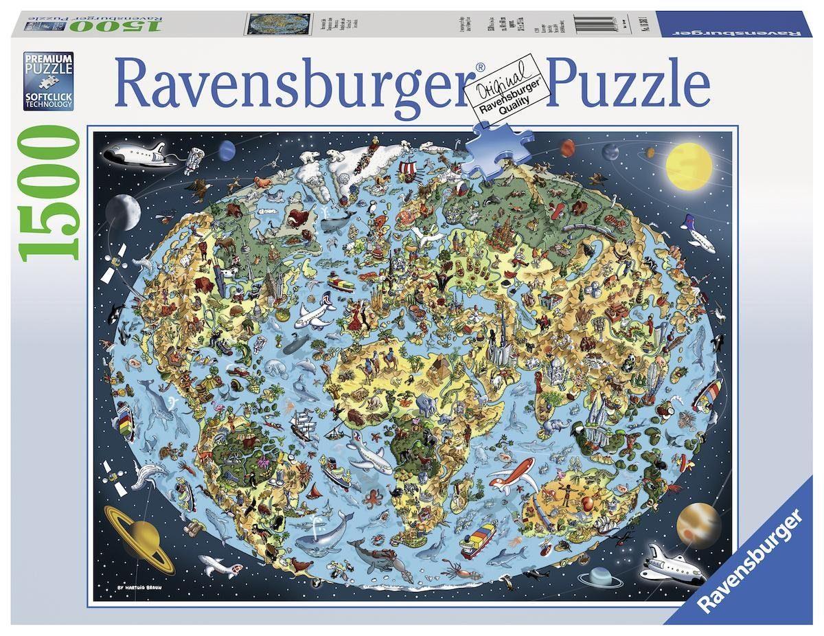 Ravensburger Puzzle »Kunterbunte Erde«, 1500 Teilig, Softclick Technology.