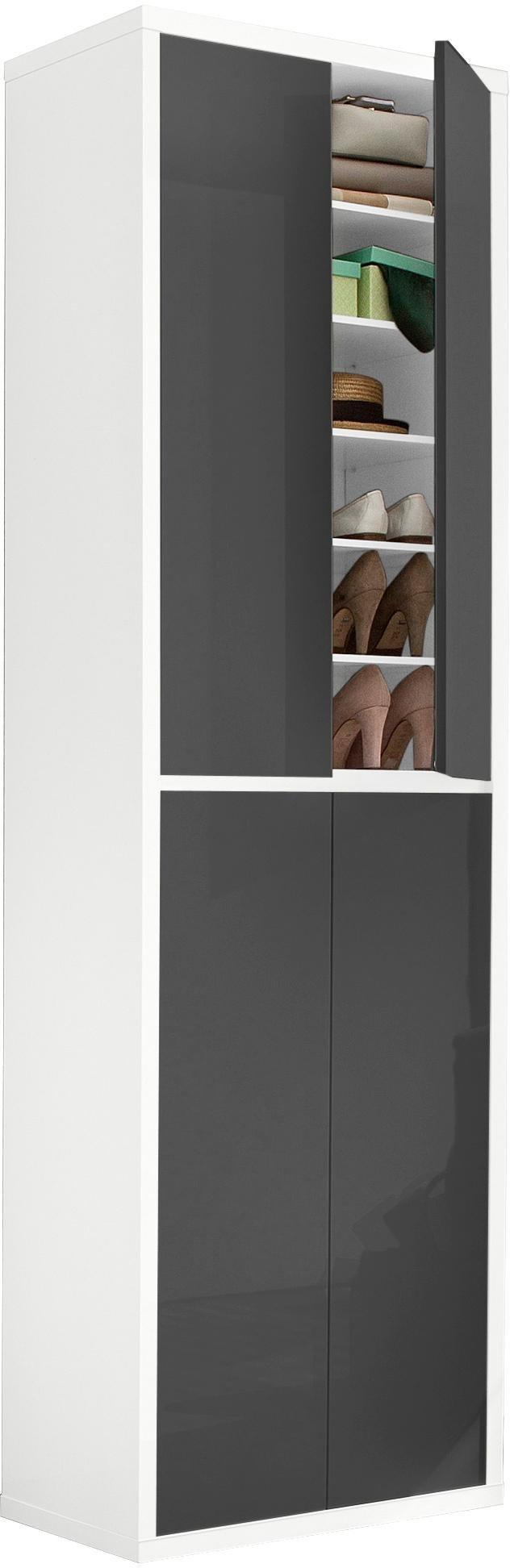 HMW Schuhschrank »Spazio«, Breite 70 cm, mit griffloser Optik | Flur & Diele > Schuhschränke und Kommoden > Schuhschränke | Weiß - Anthrazit | Melamin | HMW