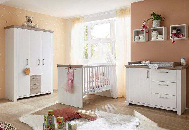 Babyzimmer - Babyzimmer Komplettset »Stralsund«, (3 tlg) Bett Wickelkommode 3 trg. Schrank  - Onlineshop OTTO