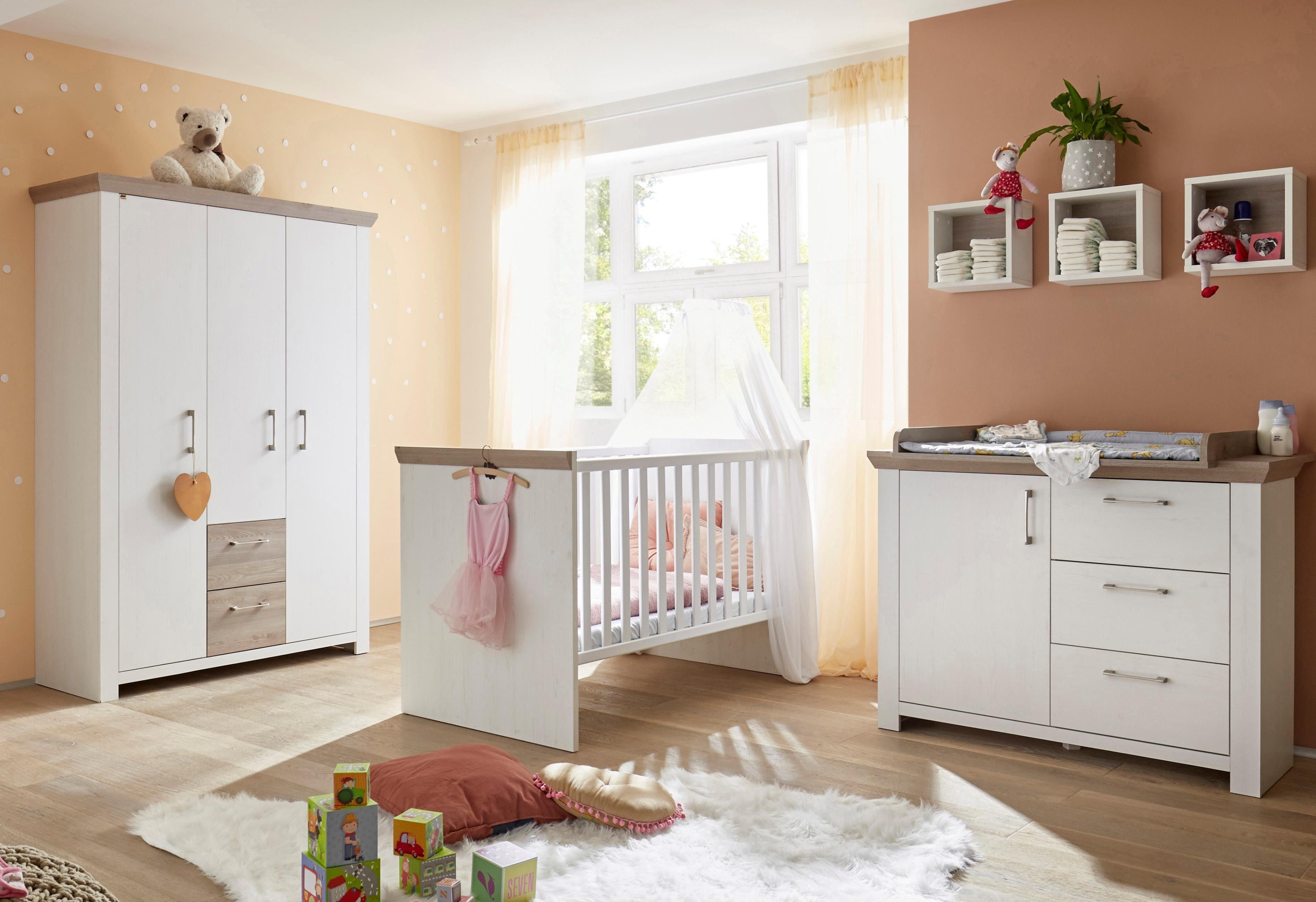 Komplettzimmer »Stralsund« Babybett + Wickelkommode + Kleiderschrank, (3-tlg.) in Pinie NB weiß