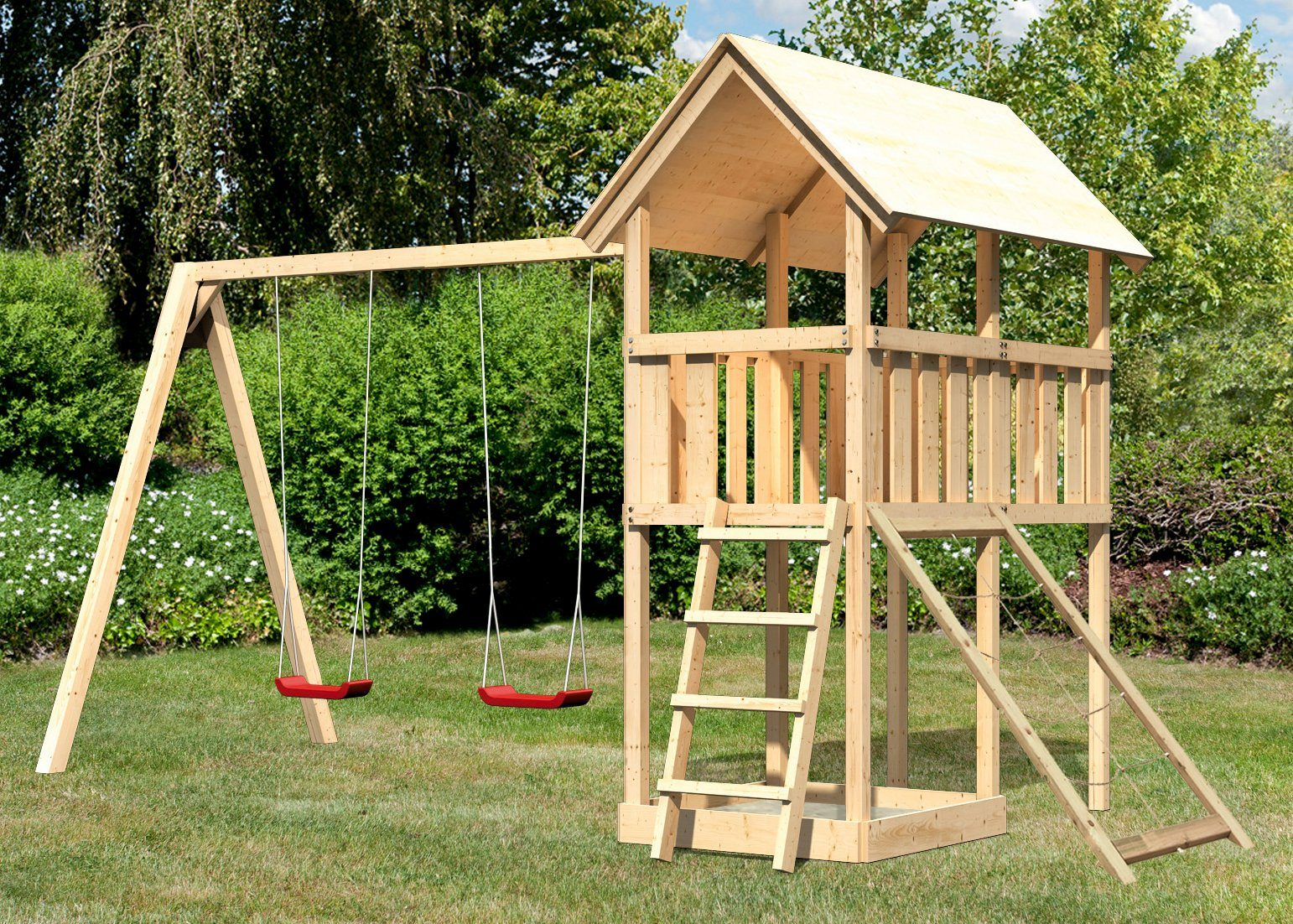 ABUKI Spielturm »Winnie 12«, BxT: 484x183 cm, mit Doppelschaukel und Netzrampe