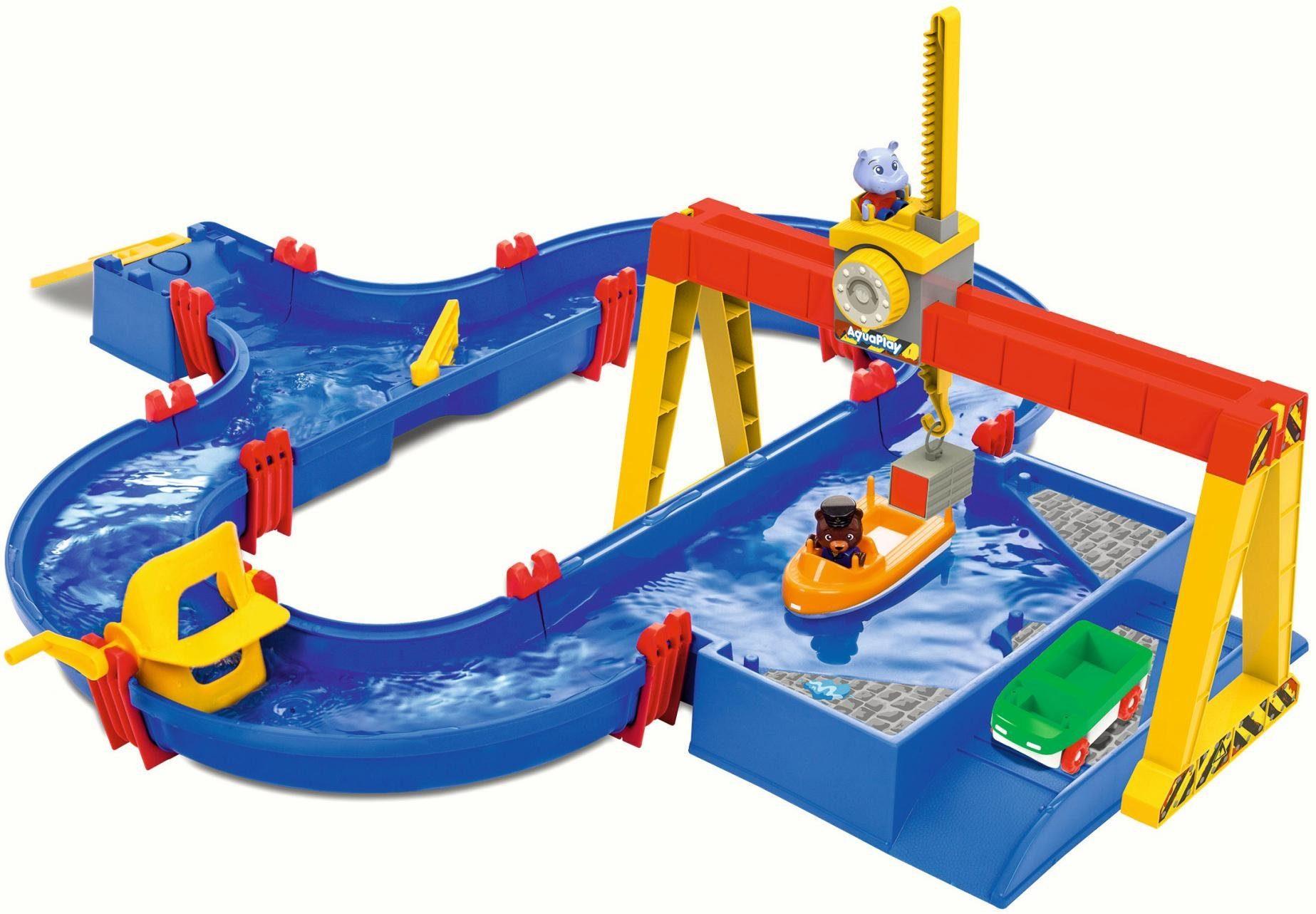 BIG Wasserbahn mit Boot, Amphibienauto und viel Zubehör, »AquaPlay ContainerPort«