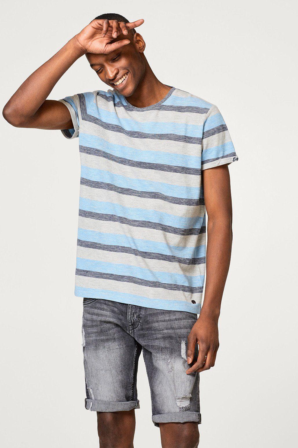 Esprit Gestreiftes Piqué-Shirt mit Baumwolle
