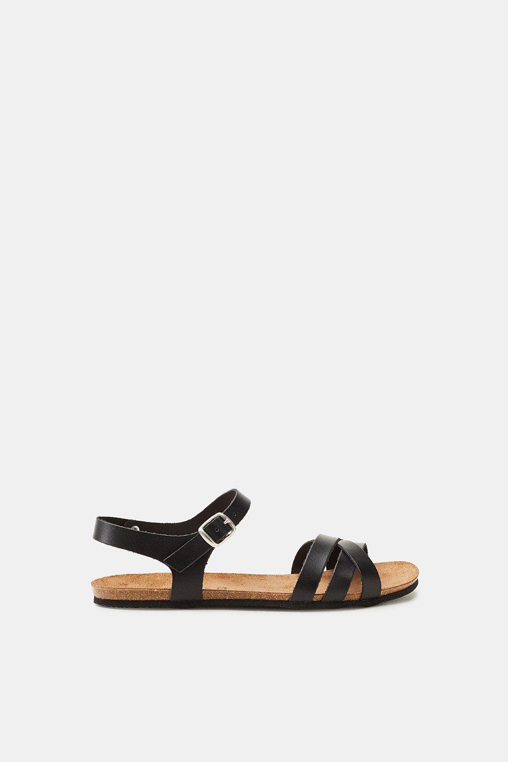 Esprit Leder-Sandale mit Nieten-Details für Damen, Größe 39, Black