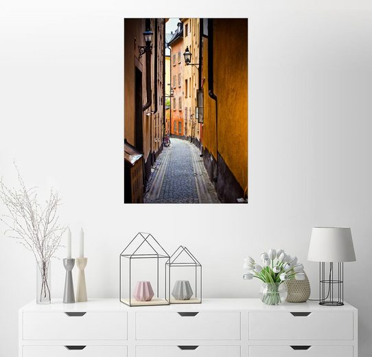 Posterlounge Wandbild »Gasse in Stockholm«