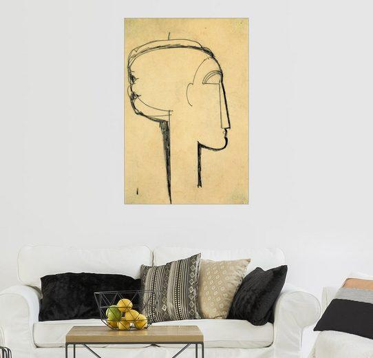 Posterlounge Wandbild - Amedeo Modigliani »Kopf im Profil«