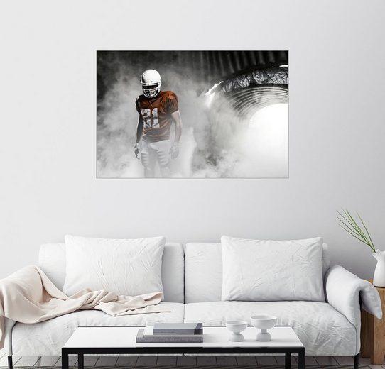 Posterlounge Wandbild »Footballer im Nebel«