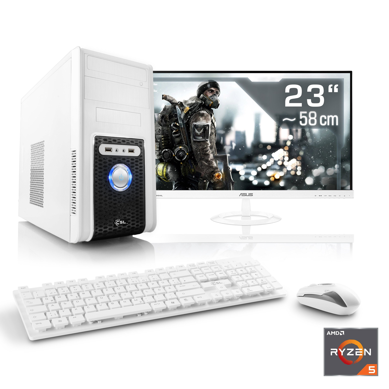 "CSL Multimedia PC Set | Ryzen 5 1400 | GT 1030 | 8 GB RAM | 23"" TFT »Sprint T8817 Windows 10 Home«"