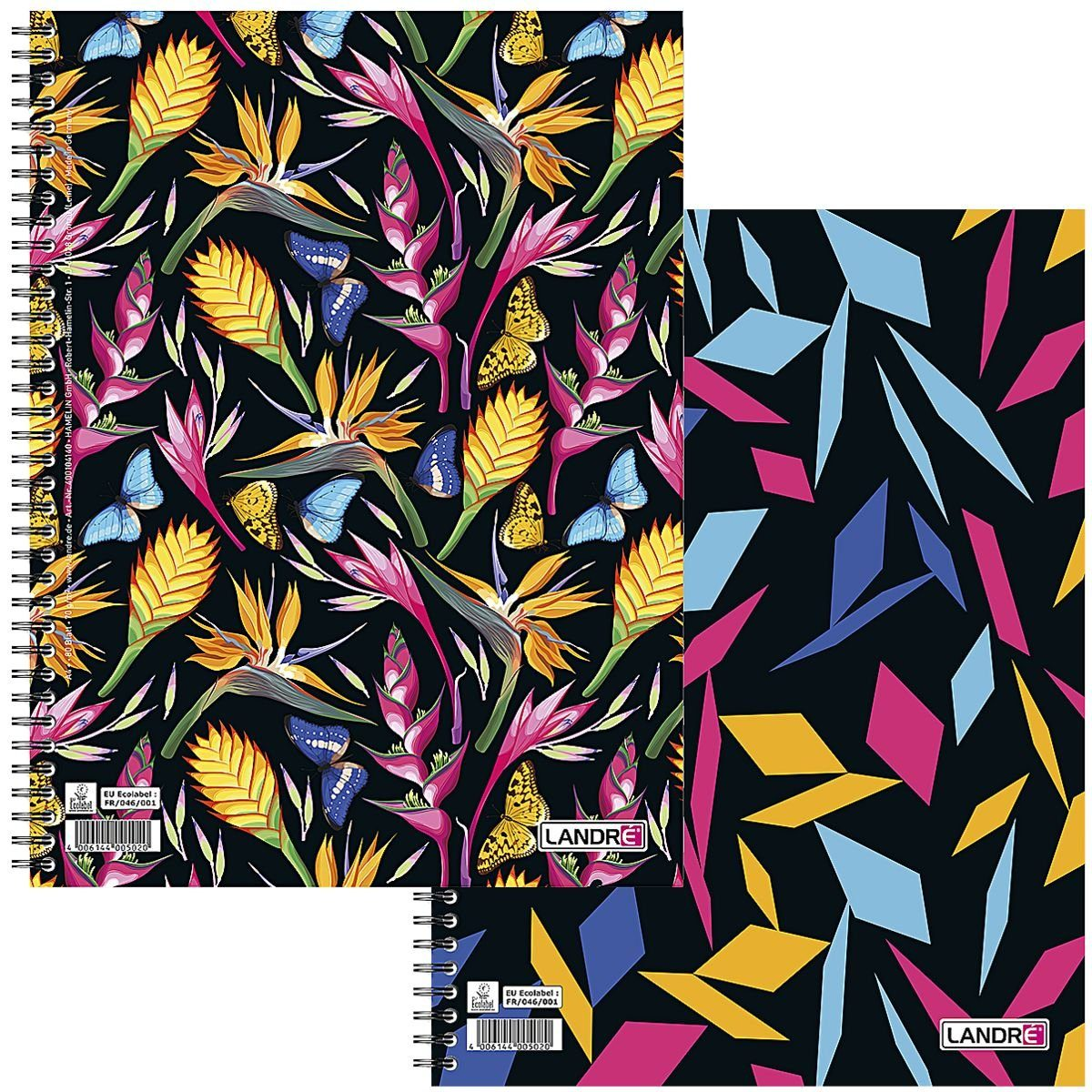 LANDRE Collegeblock 400104140 A4+ kariert »florale und grafische Muster«