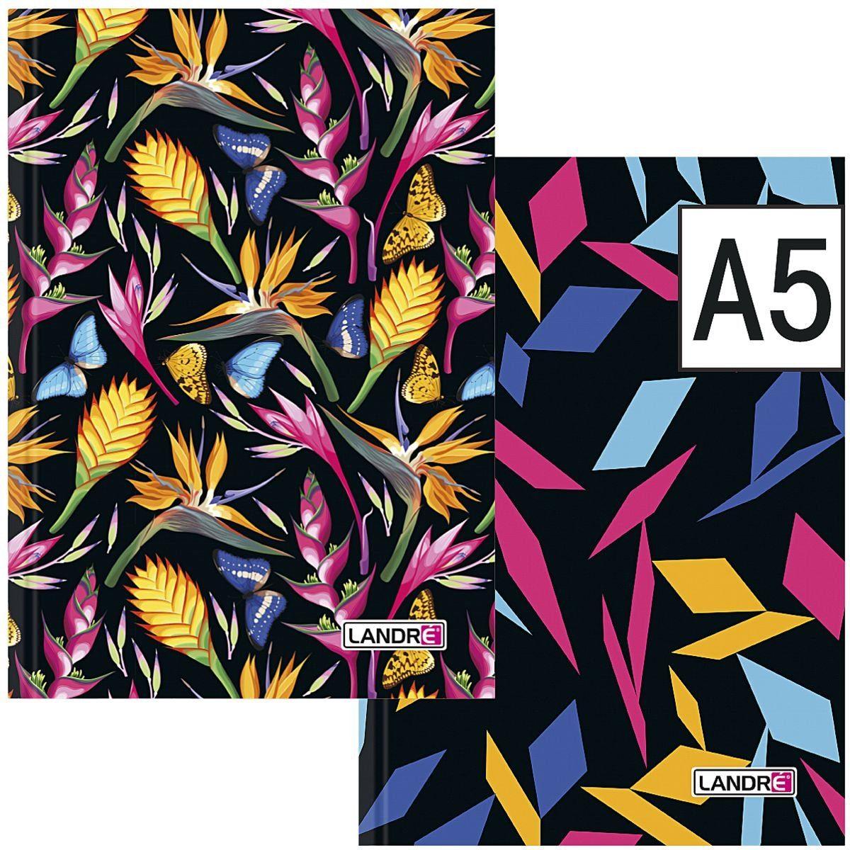 LANDRE Notizbuch 400104084 A5 kariert - 192 Seiten »florale und grafische Muster«