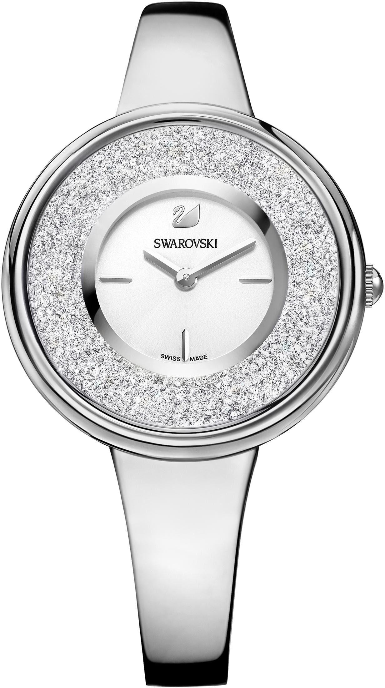 Swarovski Schweizer Uhr »Crystalline Pure Uhr, Metallarmband, weiss, silberfarben, 5269256«