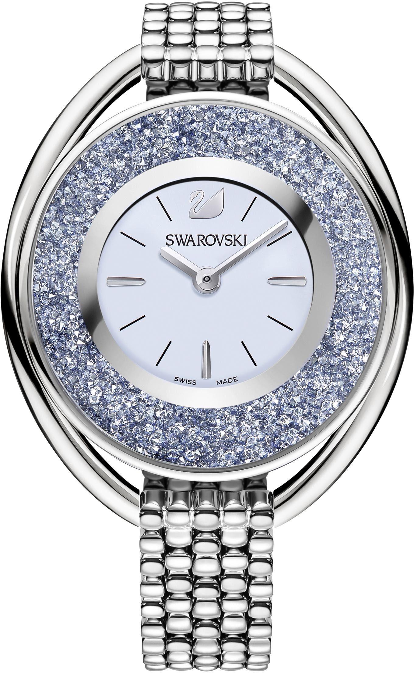 Swarovski Schweizer Uhr »Crystalline Oval Uhr, Metallarmband, blau, silberfarben, 5263904«