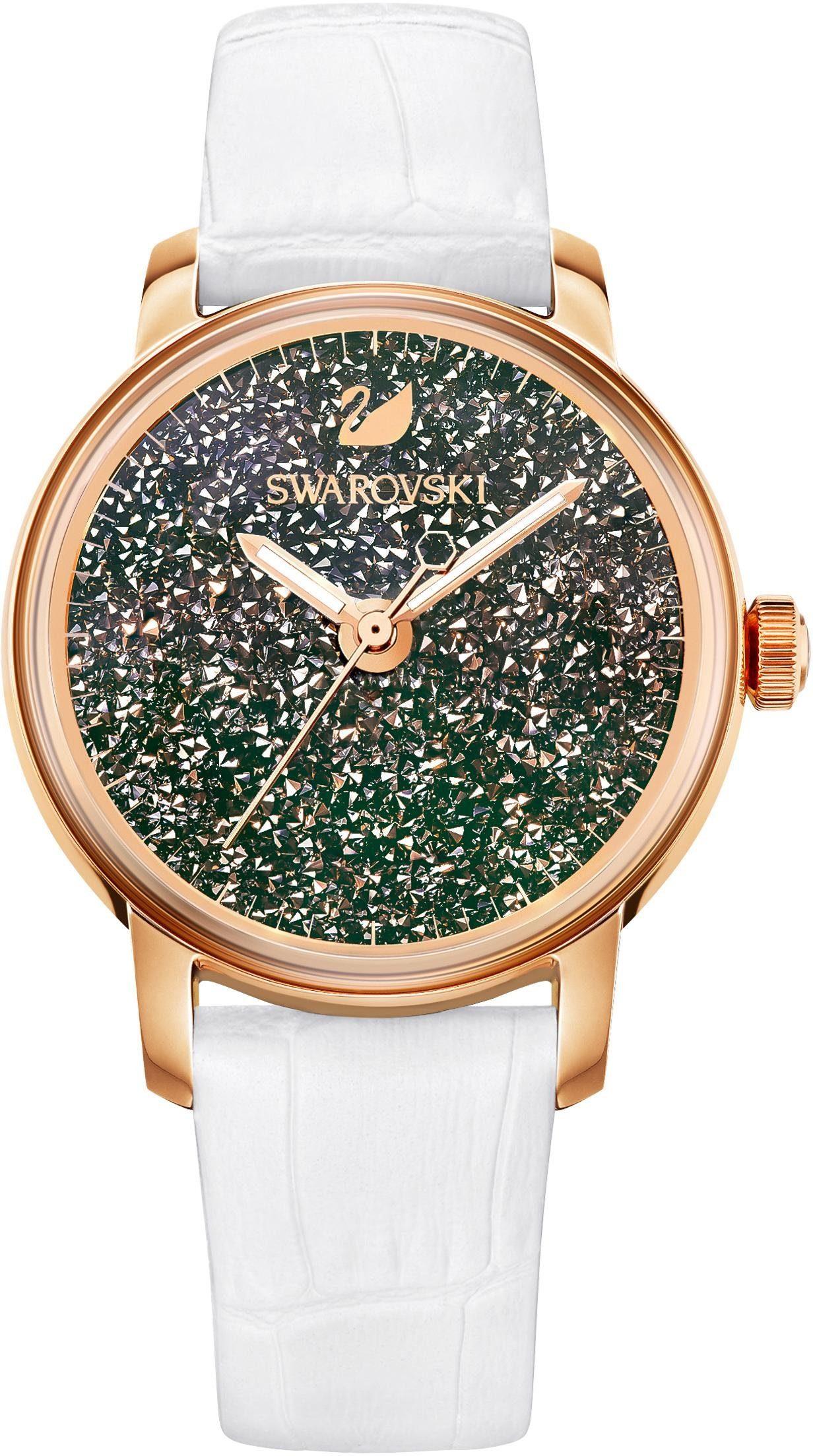 Swarovski Schweizer Uhr »Crystalline Hours Uhr, Lederarmband, weiss, roséfarben, 5344635«