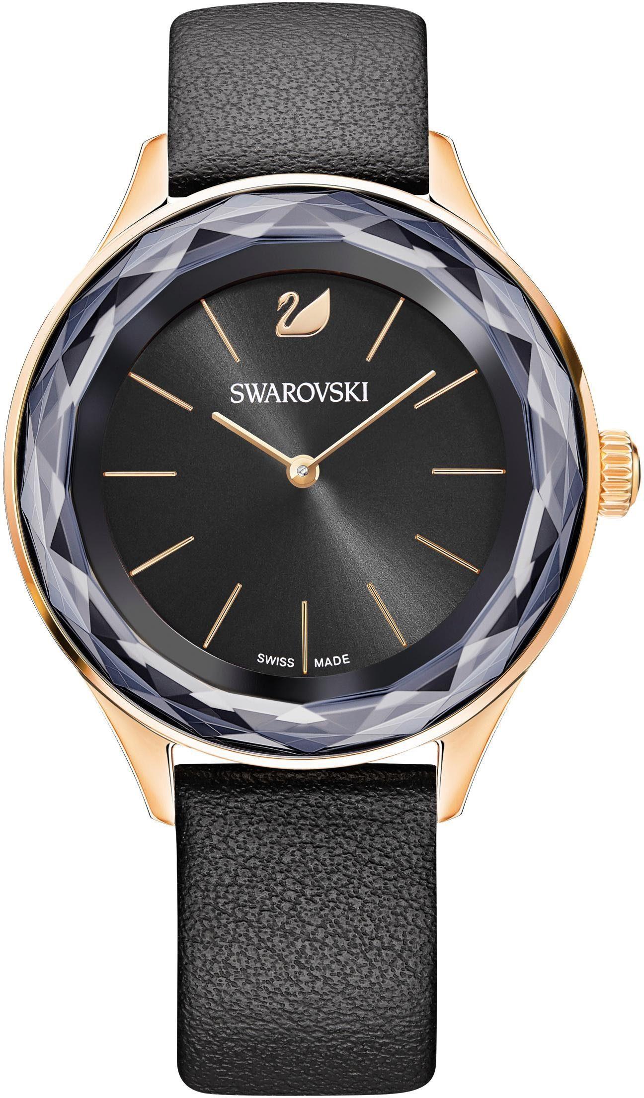Swarovski Schweizer Uhr »Octea Nova Uhr, Lederarmband, schwarz, roséfarben, 5295358«