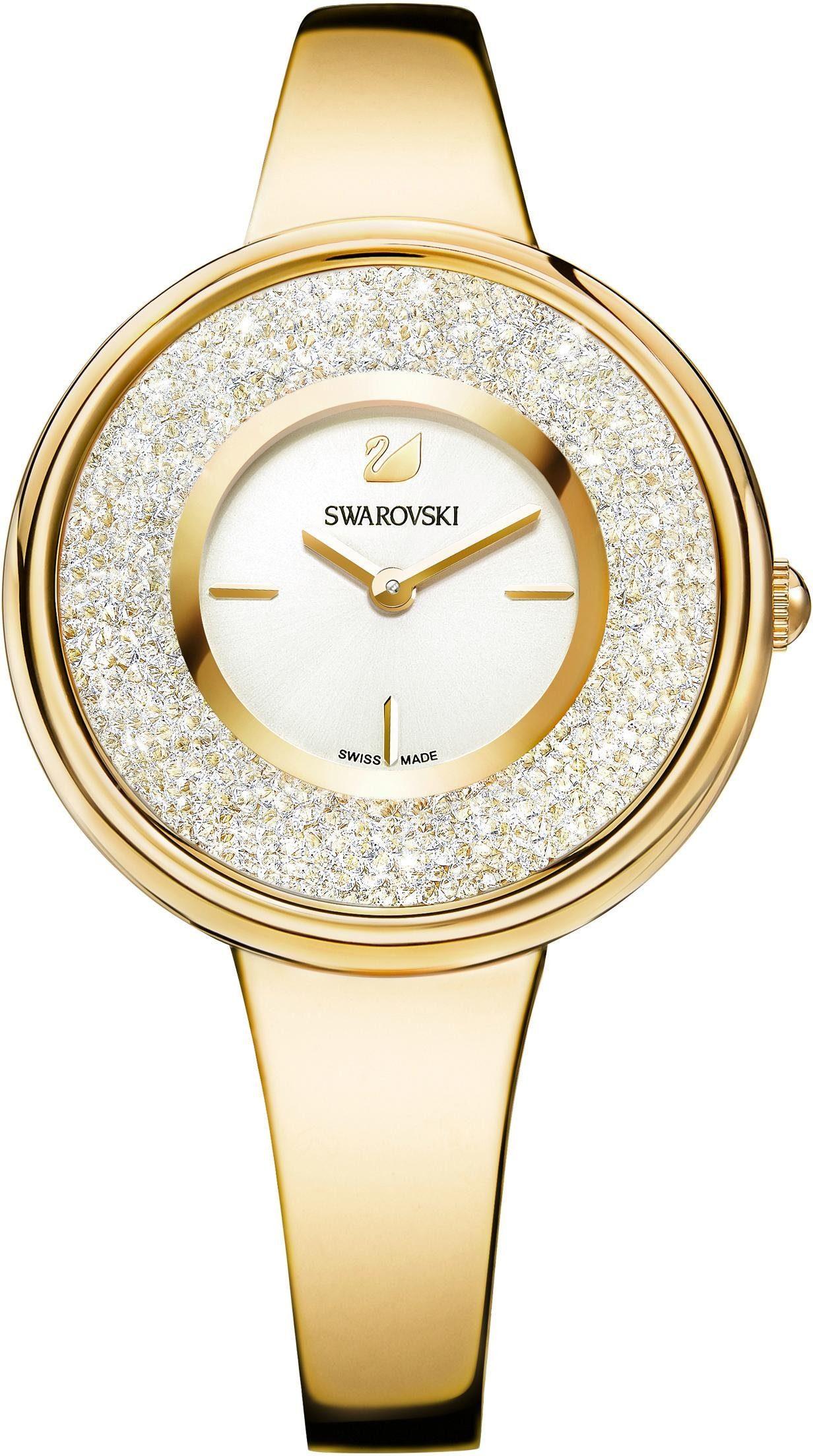Swarovski Schweizer Uhr »Crystalline Pure Uhr, Metallarmband, weiss, goldfarben, 5269253«