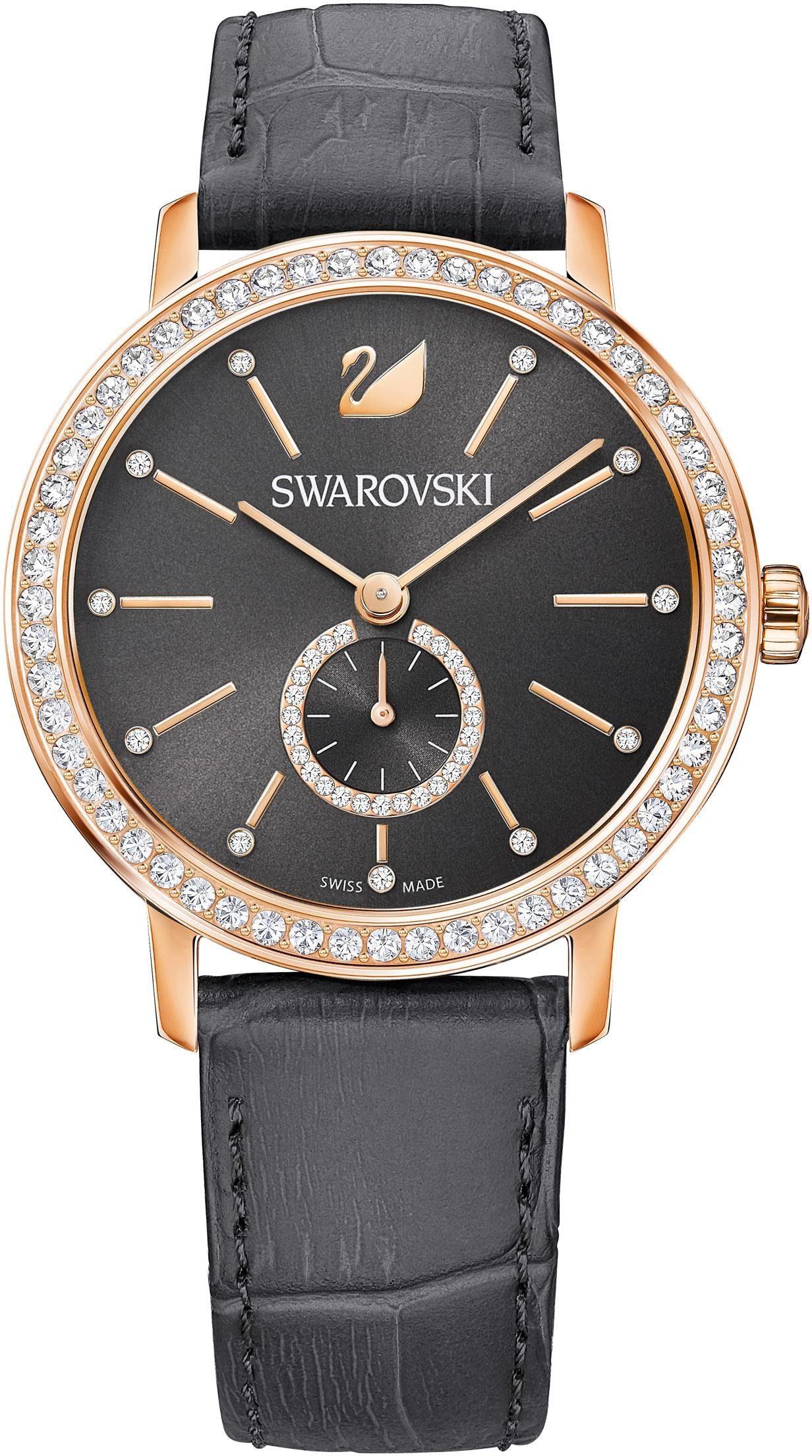 Swarovski Schweizer Uhr »Graceful Lady Uhr, Lederarmband, grau, roséfarben, 5295389«
