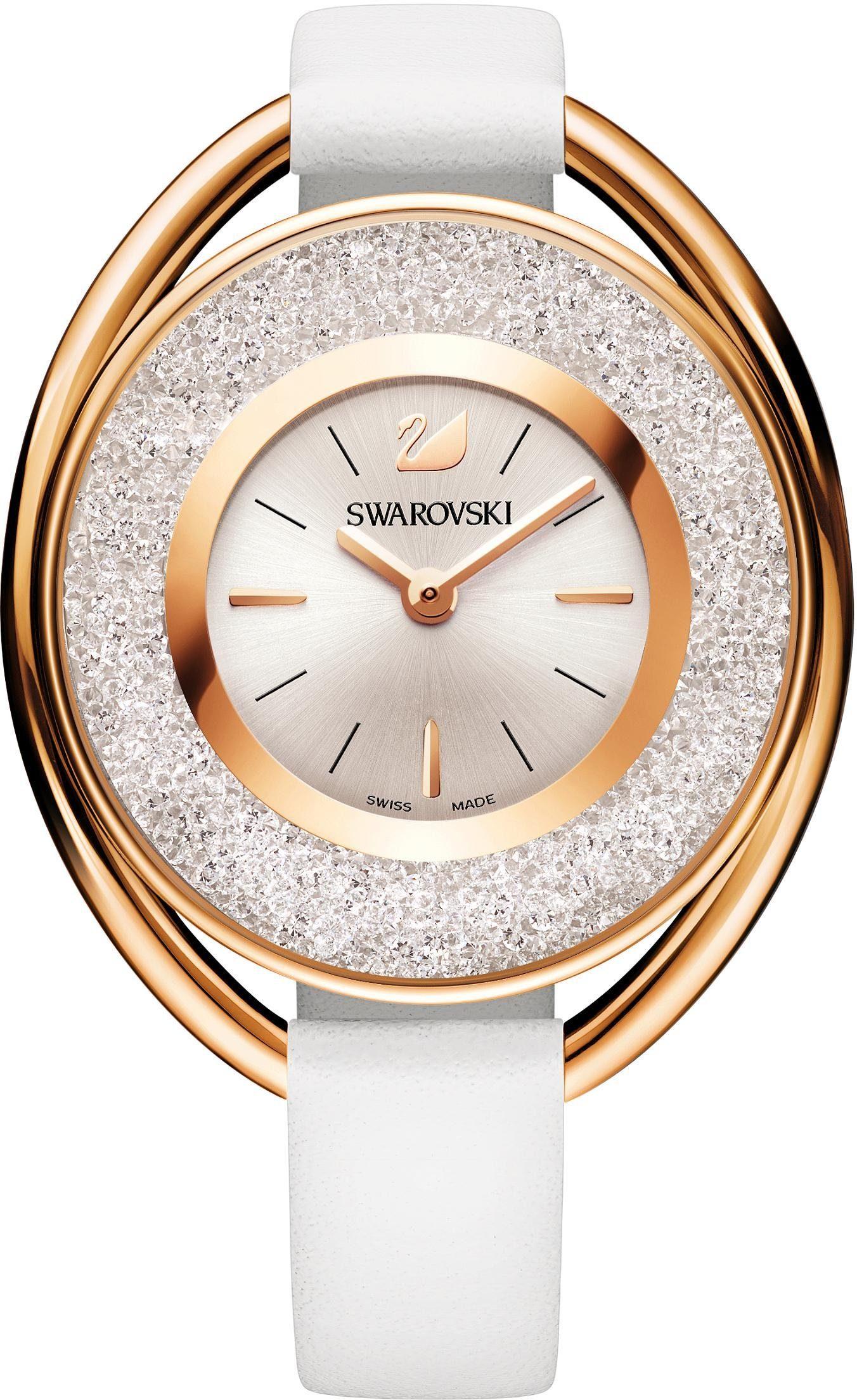 Swarovski Schweizer Uhr »Crystalline Oval Uhr, Lederarmband, weiss, roséfarben, 5230946«