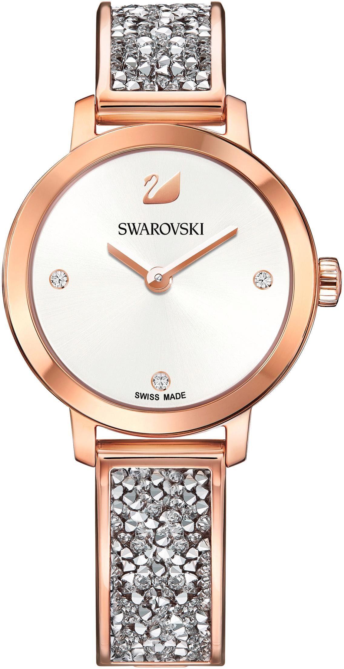 Swarovski Schweizer Uhr »Cosmic Rock Uhr, Metallarmband, weiss, roséfarben, 5376092«