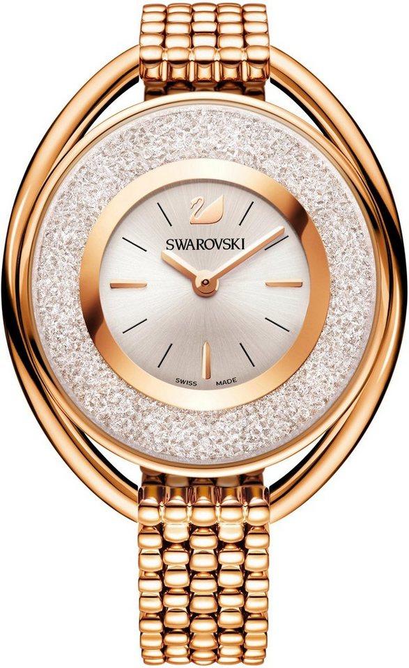Swarovski Schweizer Uhr »Crystalline Oval Uhr, Metallarmband, weiss, roséfarben, 5200341« | Uhren > Schweizer Uhren | Goldfarben | Swarovski