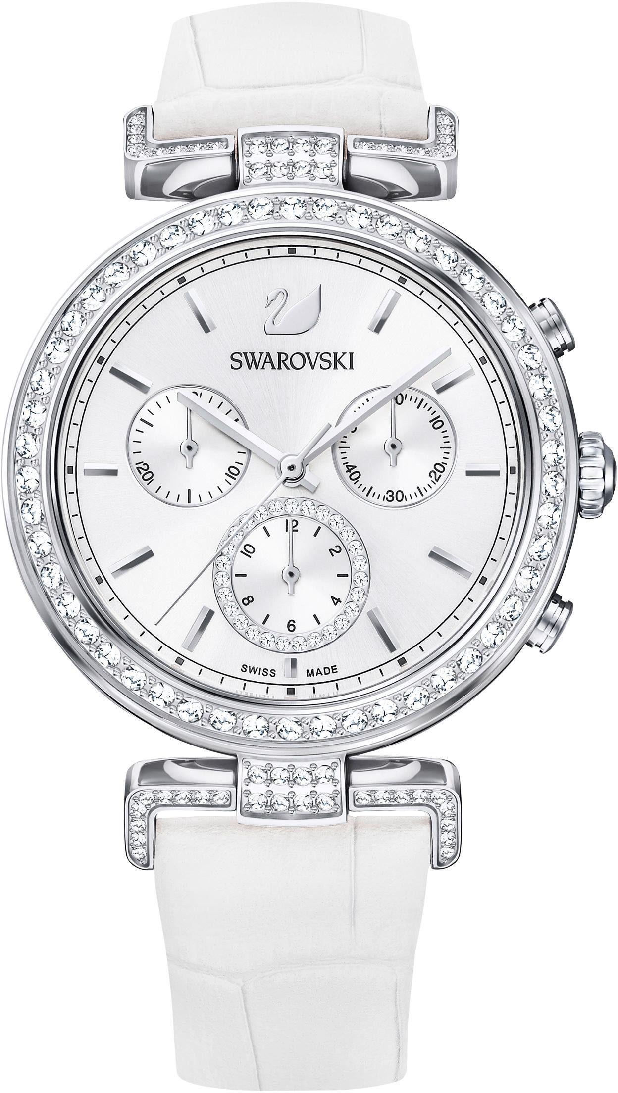 Swarovski Chronograph »Era Journey Uhr, Lederarmband, weiss, silberfarben, 5295346«
