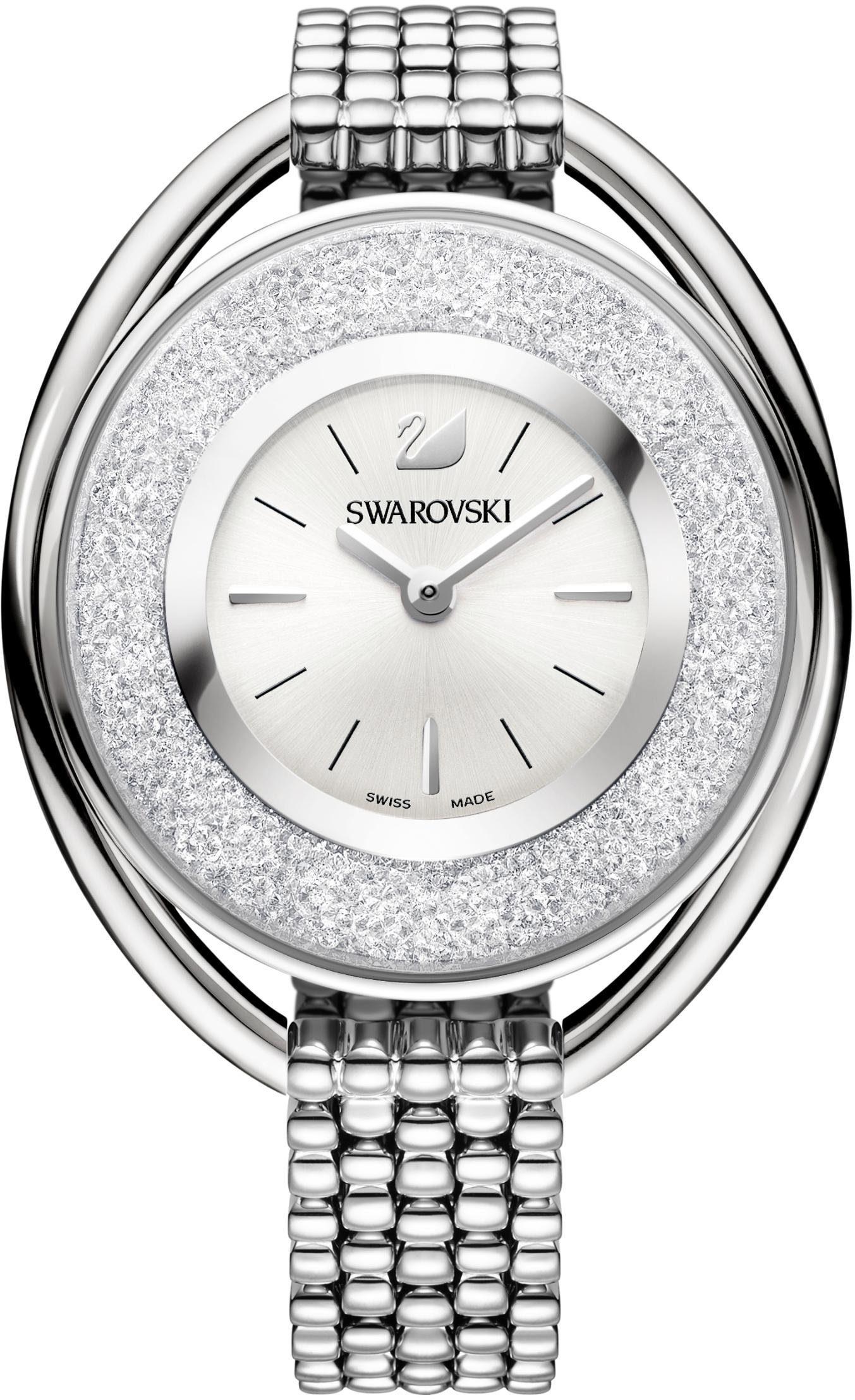 Swarovski Schweizer Uhr »Crystalline Oval Uhr, Metallarmband, weiss, silberfarben, 5181008«