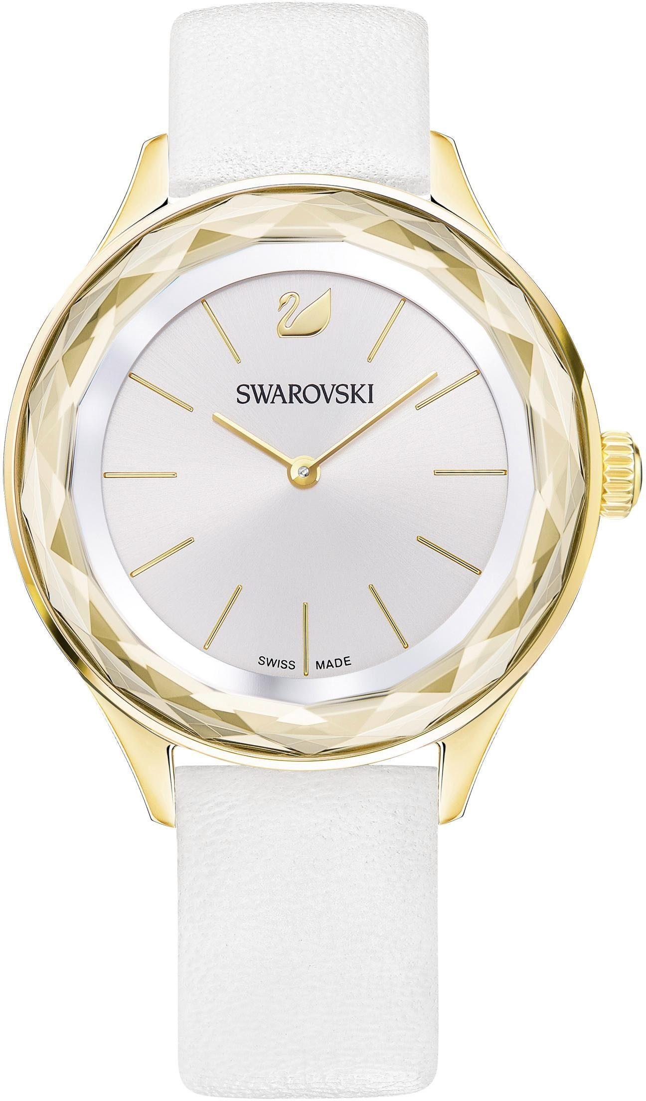 Swarovski Schweizer Uhr »Octea Nova Uhr, Lederarmband, weiss, goldfarben, 5295337«
