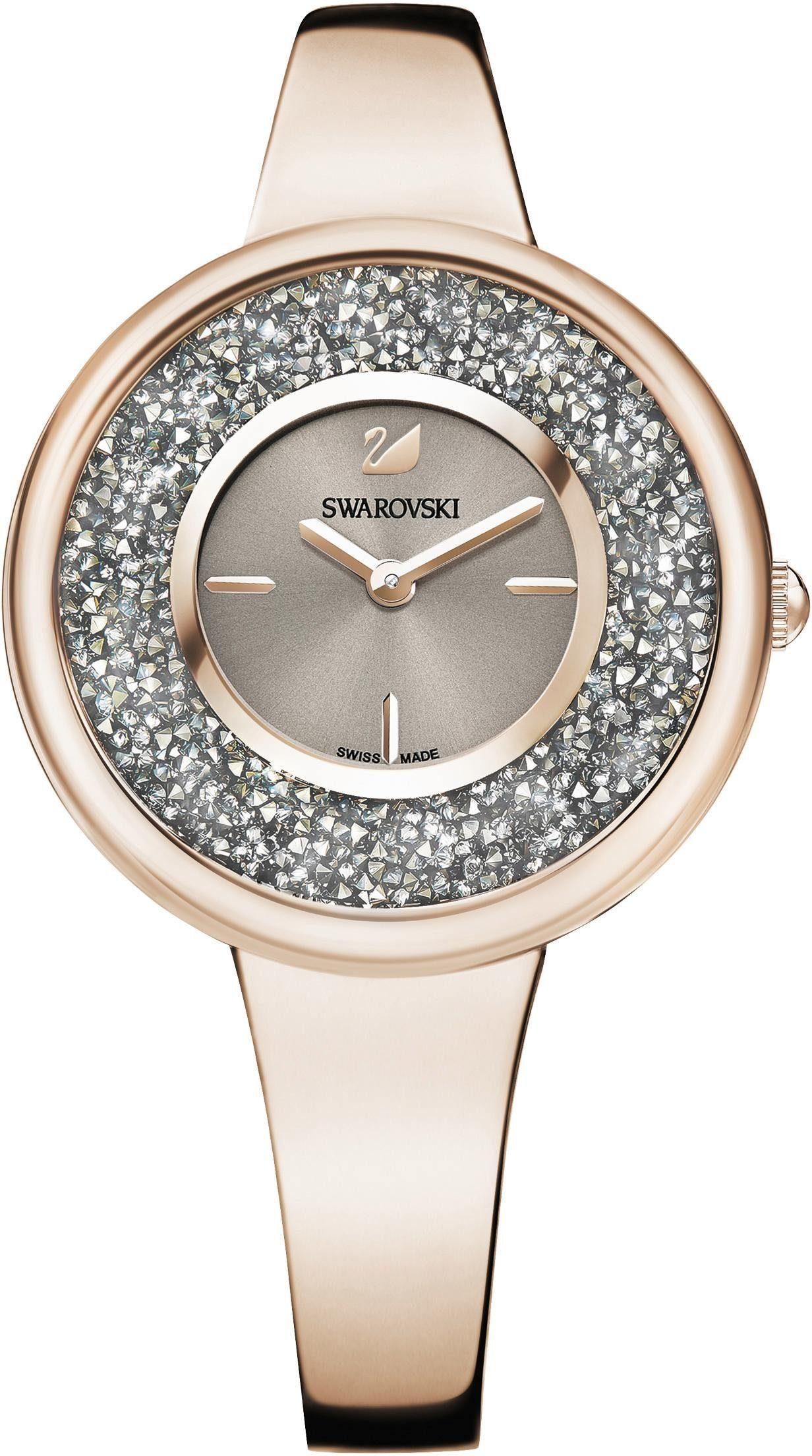 Swarovski Schweizer Uhr »Crystalline Pure Uhr, Metallarmband, Farbton Champagne Gold, 5376077«
