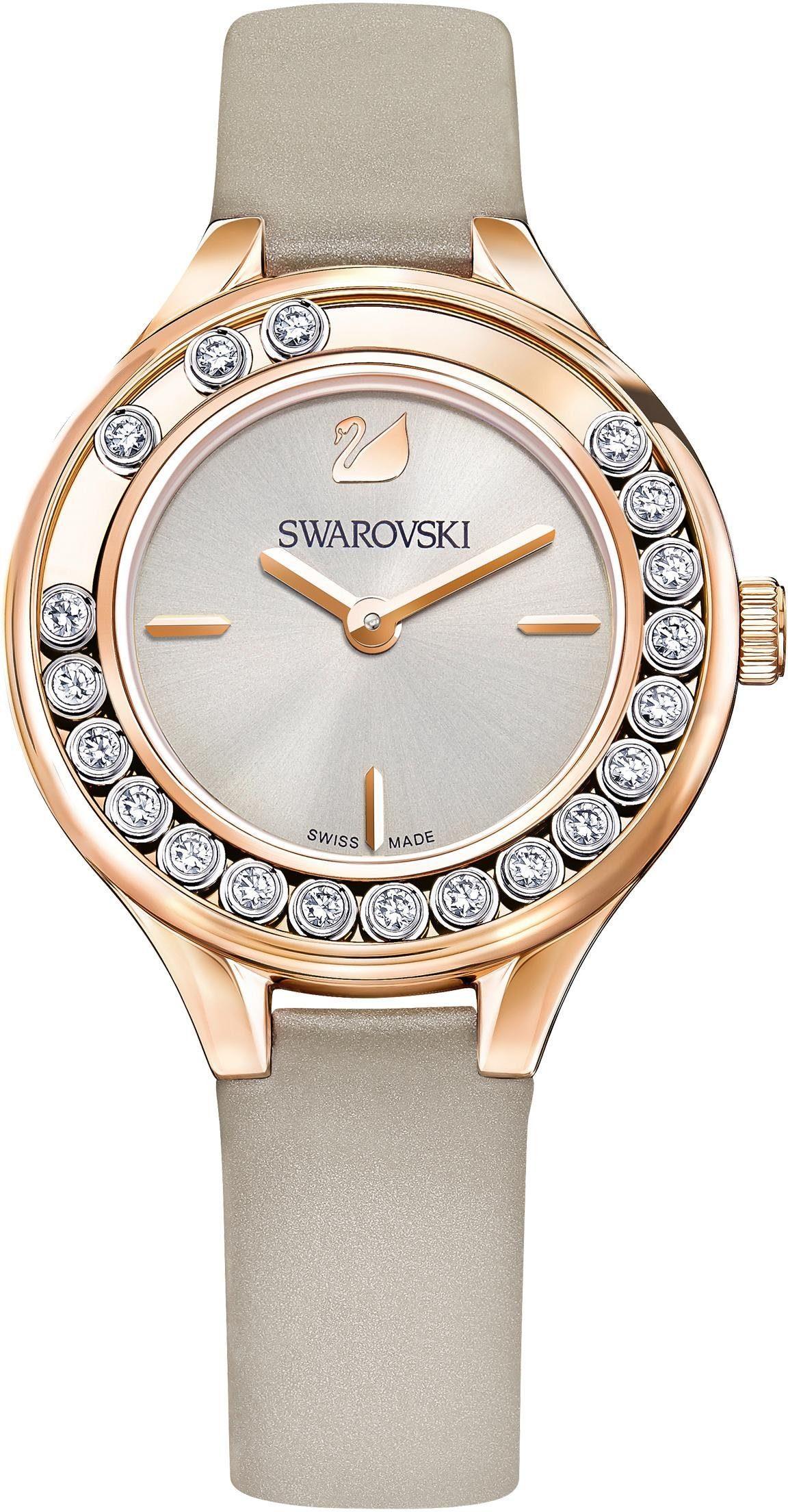 Swarovski Schweizer Uhr »Lovely Crystals Mini Uhr, Lederarmband, grau, roséfarben, 5261481«