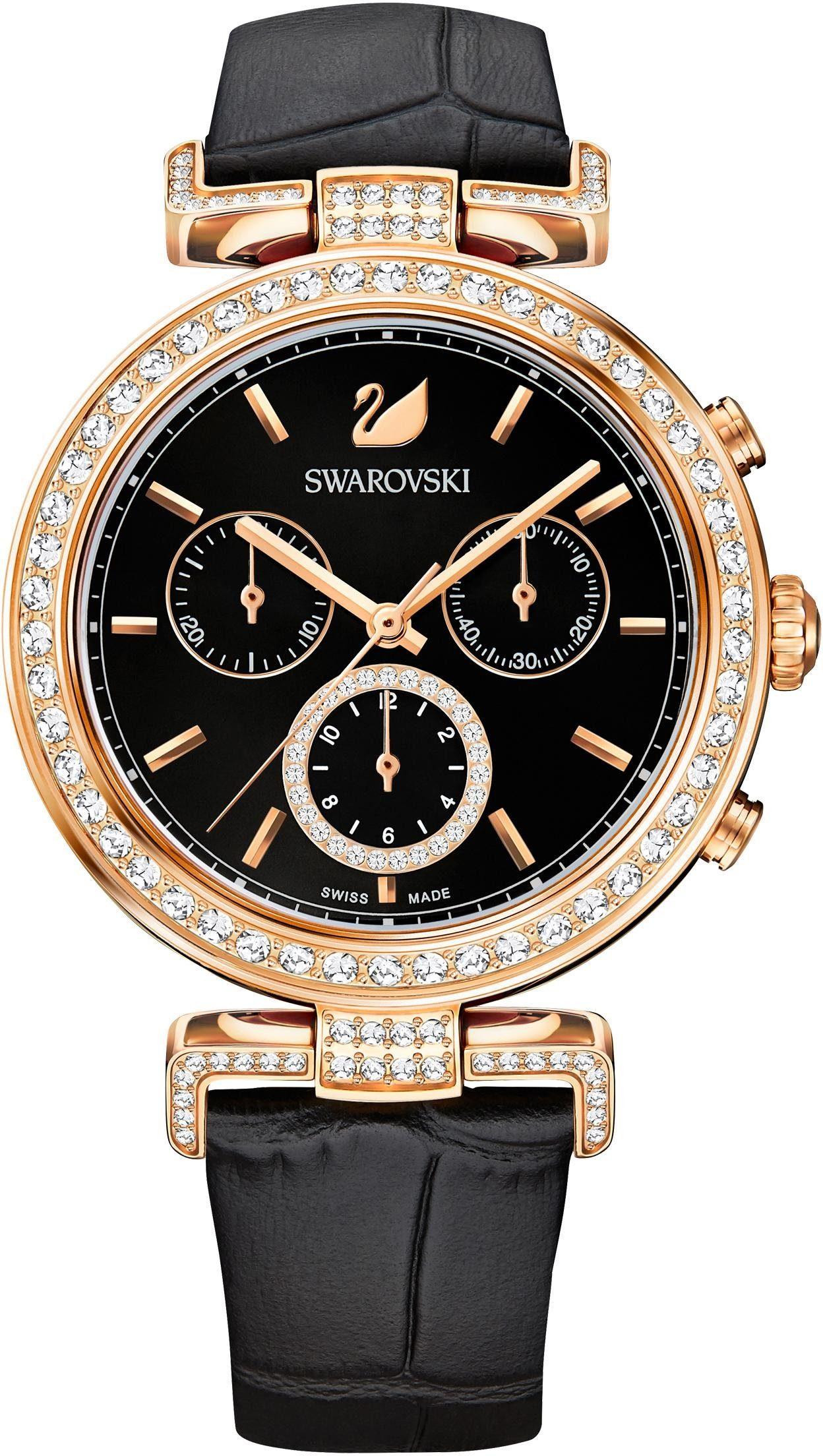 Swarovski Chronograph »Era Journey Uhr, Lederarmband, schwarz, roséfarben, 5295320«