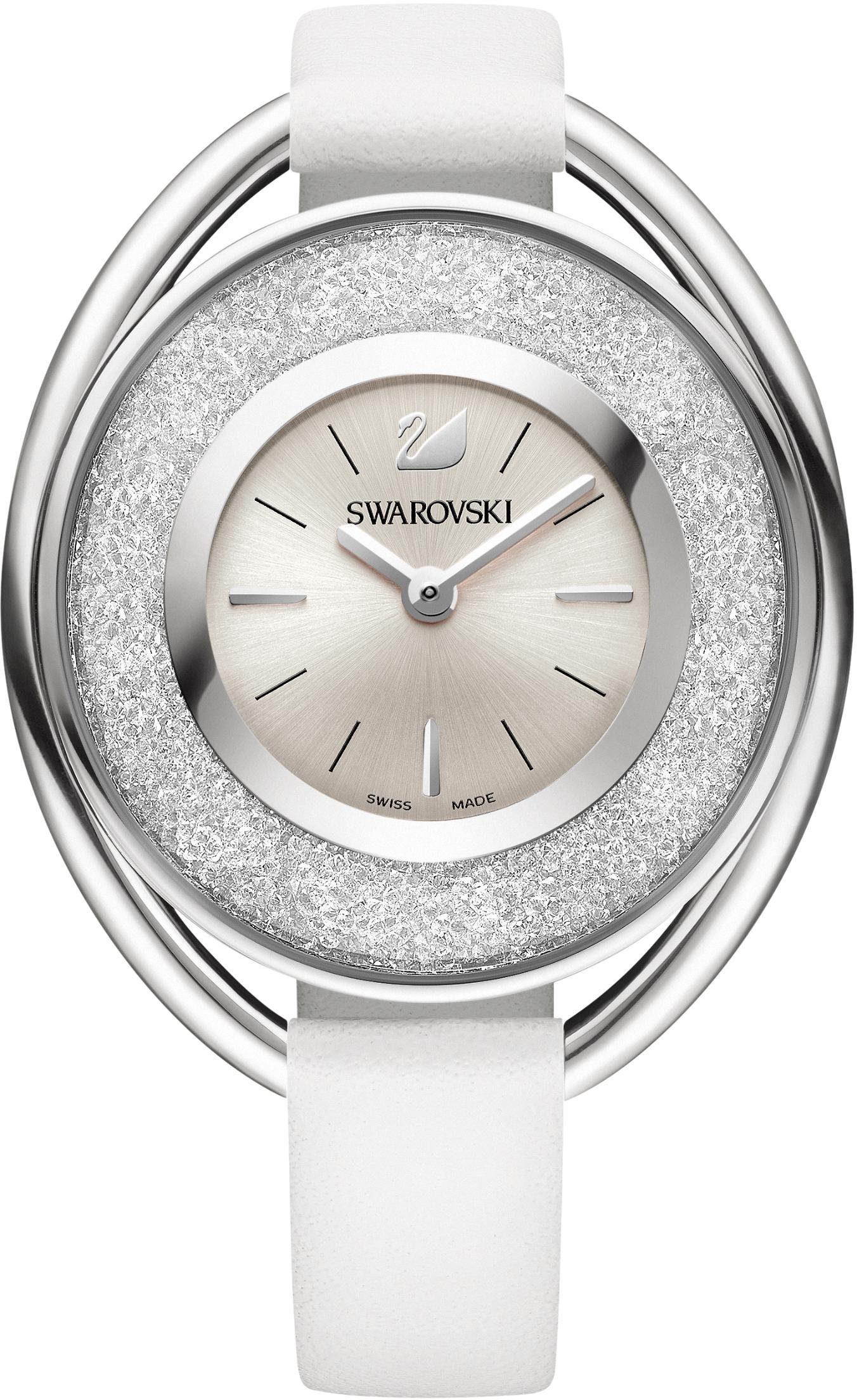 Swarovski Schweizer Uhr »Crystalline Oval Uhr, Lederarmband, weiss, silberfarben, 5158548«