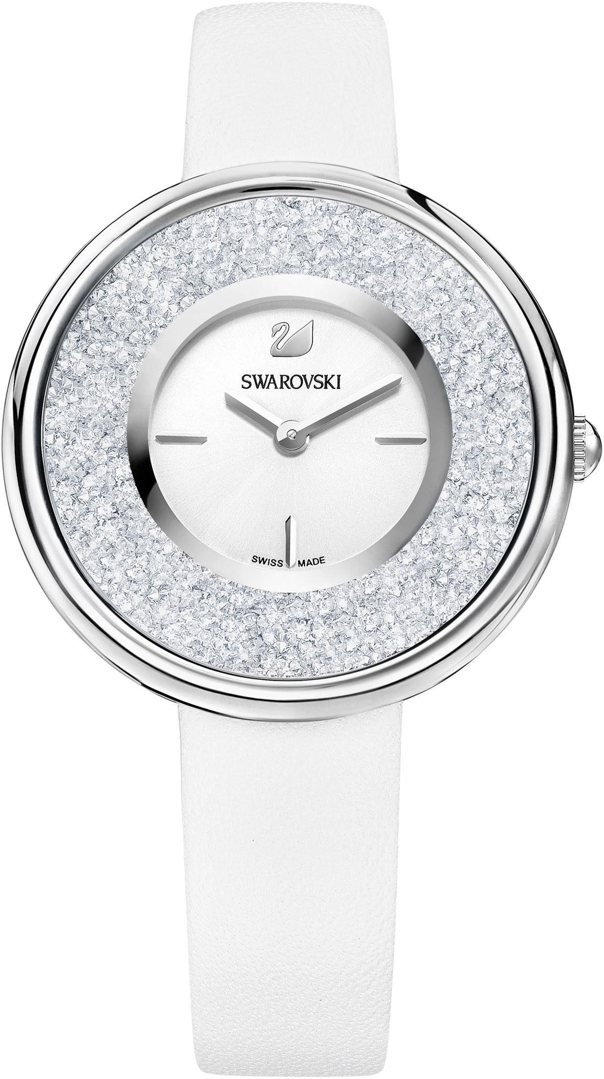 Swarovski Schweizer Uhr »Crystalline Pure Uhr, Lederarmband, weiss, silberfarben, 5275046«