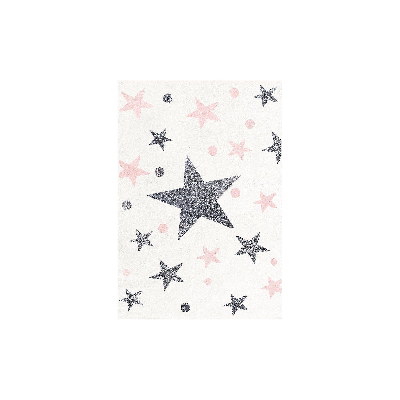 Happy Rugs Kinderteppich, STARS creme/silbergrau-rosa, 100 x 160 cm