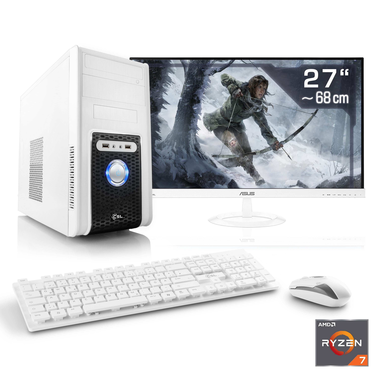 "CSL Gaming PC Set   Ryzen 7 1700   GTX 1050Ti   16GB DDR4   27"" TFT »Sprint T8675 Windows 10 Home«"