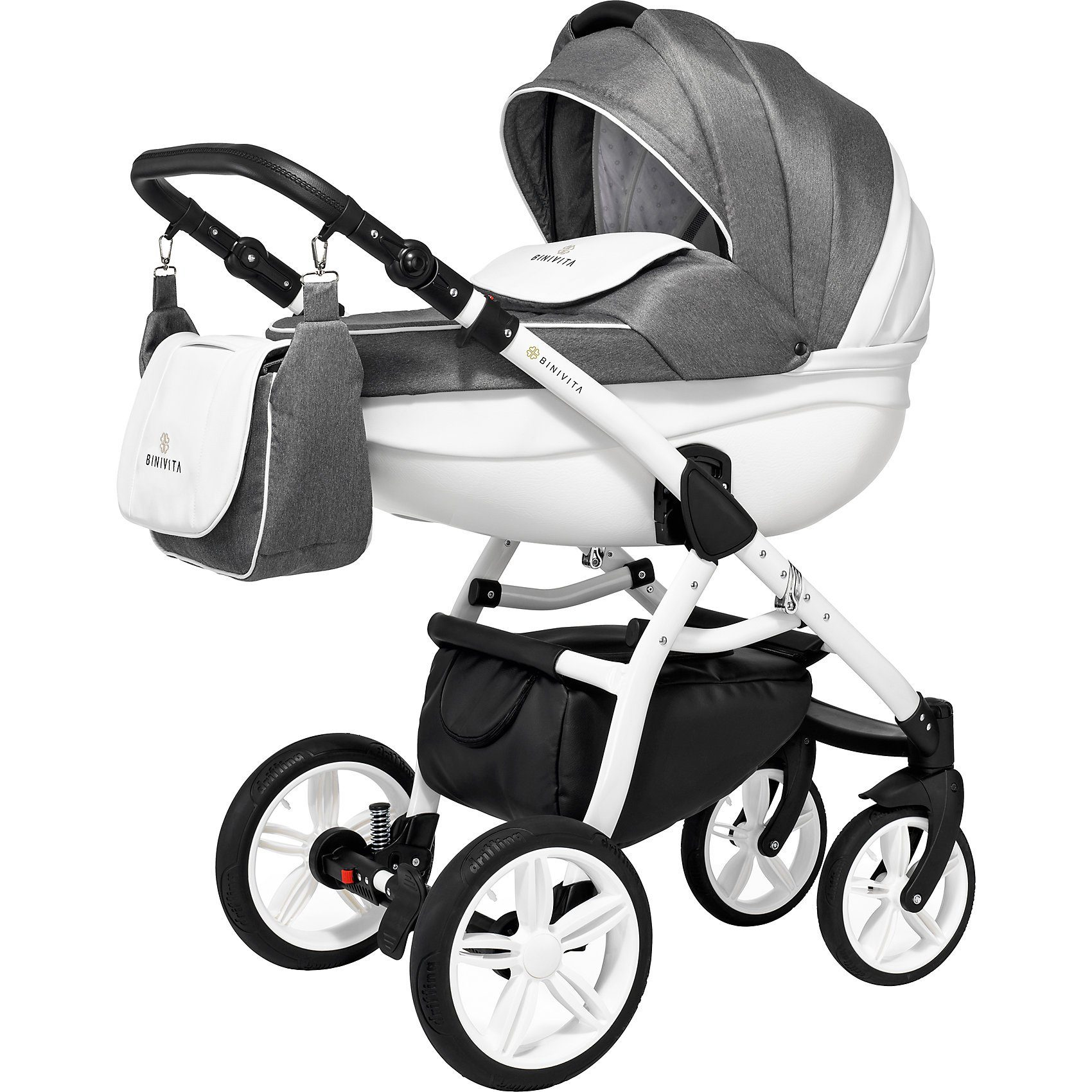 Binivita Kombi Kinderwagen Elements, 2 in 1, Silver Diamond, 2018