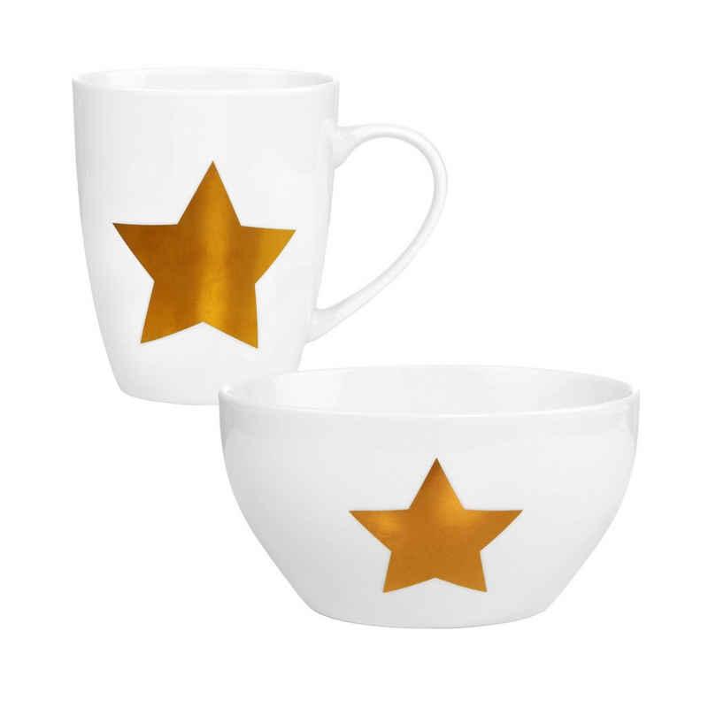 BUTLERS Schale »WHITE XMAS Frühstücksset 2-tlg. Sterne«, Porzellan